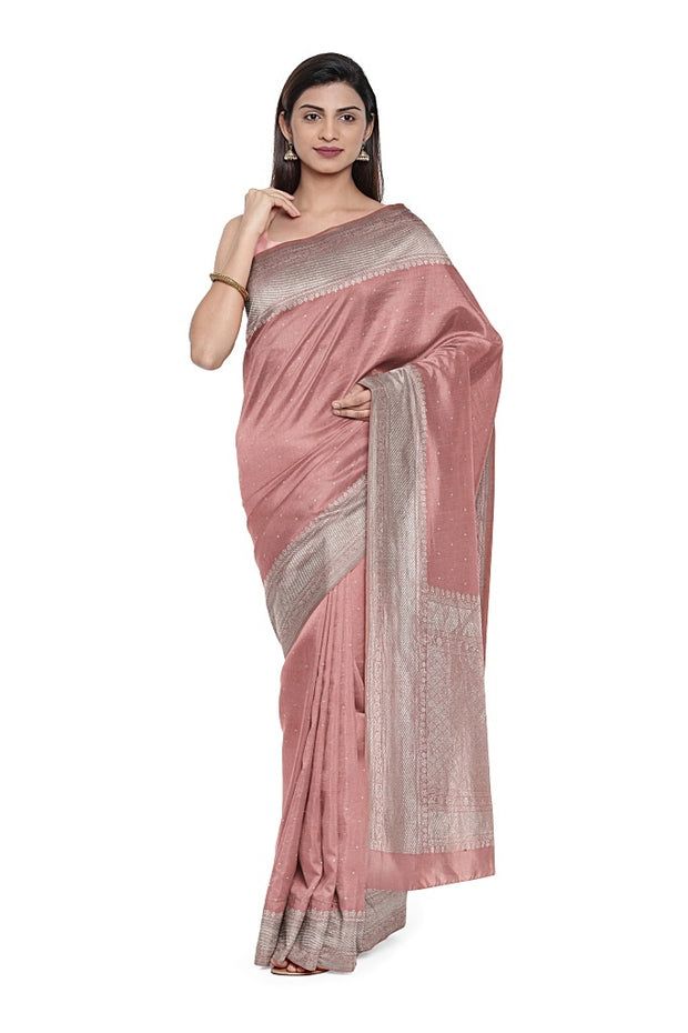 SIGNORAA PEACH TUSSAR SILK SAREE-PTS04720- Model View