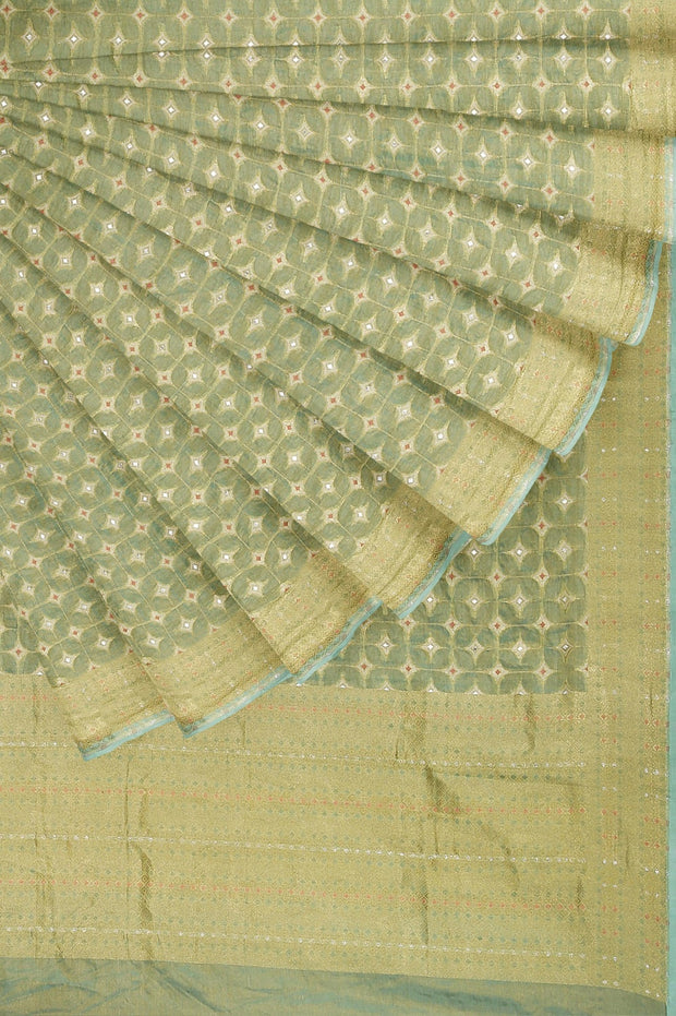 SIGNORAA SEA GREEN BANARASI SILK TISSUE SAREE-BSK08974- Cover View
