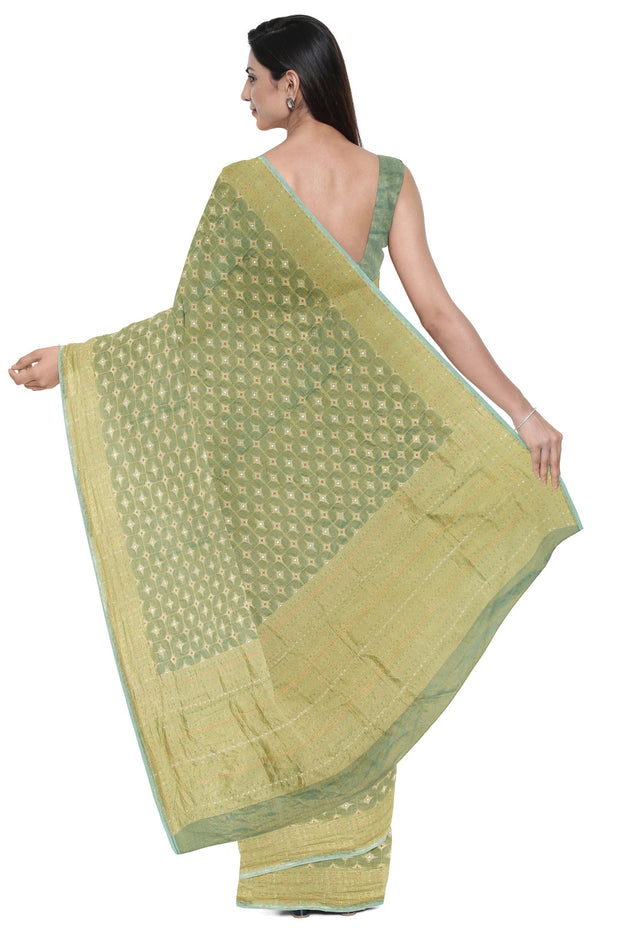 SIGNORAA SEA GREEN BANARASI SILK TISSUE SAREE-BSK08974- Model View 2