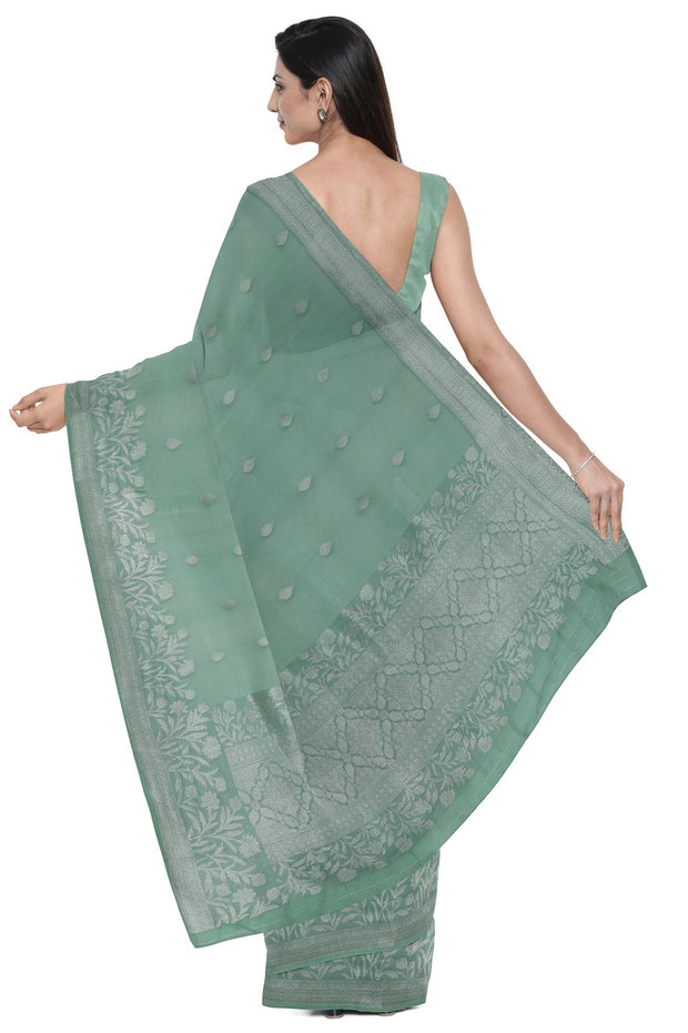 SIGNORAA CYAN BANARASI KORA SILK SAREE-BSK08995- Model View 2