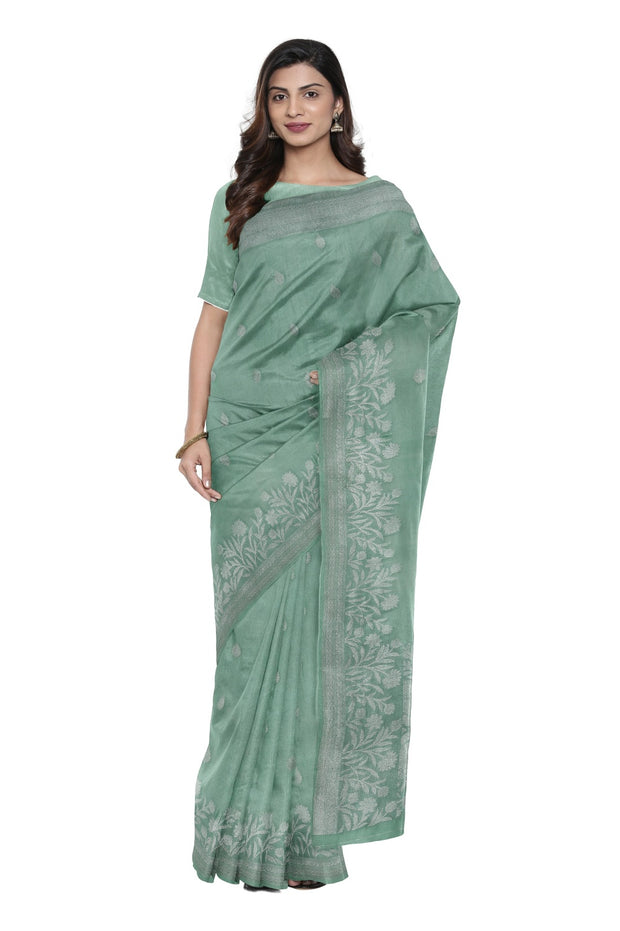 SIGNORAA CYAN BANARASI KORA SILK SAREE-BSK08995- Model View