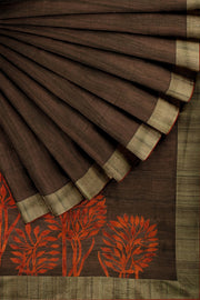 SIGNORAA BROWN DAILY WEAR TUSSAR SAREE-BLN00069- Cover View