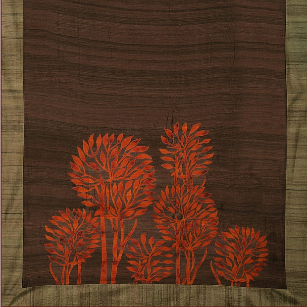 SIGNORAA BROWN DAILY WEAR TUSSAR SAREE-BLN00069- Full View