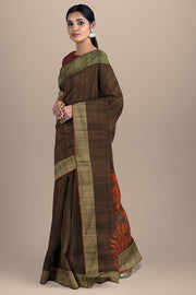 SIGNORAA BROWN DAILY WEAR TUSSAR SAREE-BLN00069- Model View