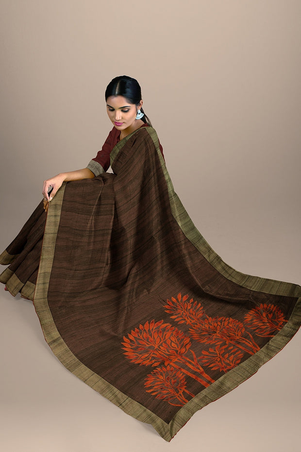 SIGNORAA BROWN DAILY WEAR TUSSAR SAREE-BLN00069- Model View 2