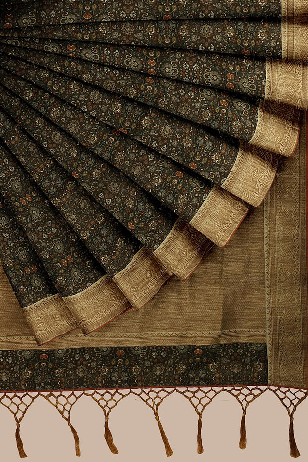 SIGNORAA BROWN DAILY WEAR TUSSAR SAREE-BLN00078- Cover View