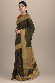SIGNORAA BROWN DAILY WEAR TUSSAR SAREE-BLN00078- Model View