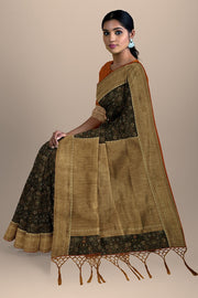 SIGNORAA BROWN DAILY WEAR TUSSAR SAREE-BLN00078- Model View 2