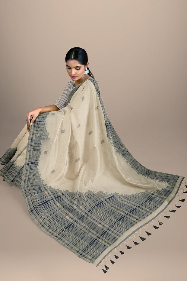 SIGNORAA OFF WHITE DAILY WEAR TUSSAR SAREE-BLN00091  - Model View 1