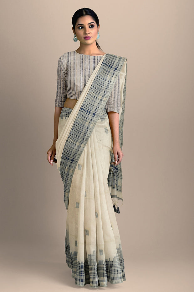 SIGNORAA OFF WHITE DAILY WEAR TUSSAR SAREE-BLN00091  - Model View 2