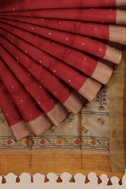 SIGNORAA MAROON DAILY WEAR TUSSAR SAREE-BLN00092A- Cover View
