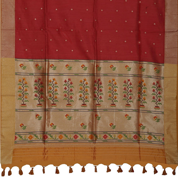 SIGNORAA MAROON DAILY WEAR TUSSAR SAREE-BLN00092A- Full View