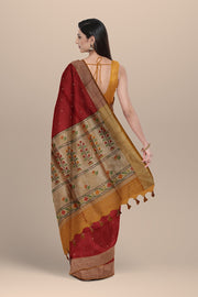 SIGNORAA MAROON DAILY WEAR TUSSAR SAREE-BLN00092A- Model View 2