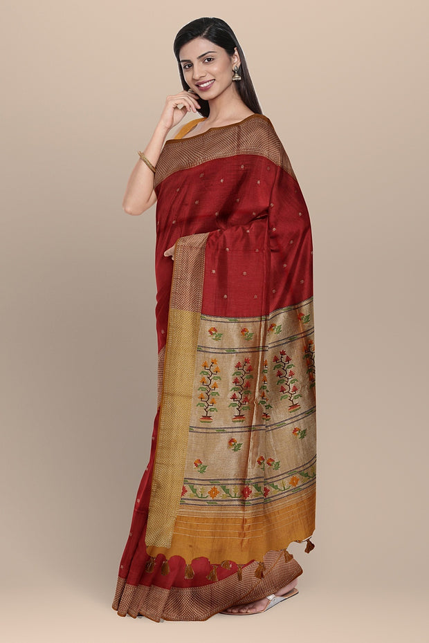 SIGNORAA MAROON DAILY WEAR TUSSAR SAREE-BLN00092A- Model View 1