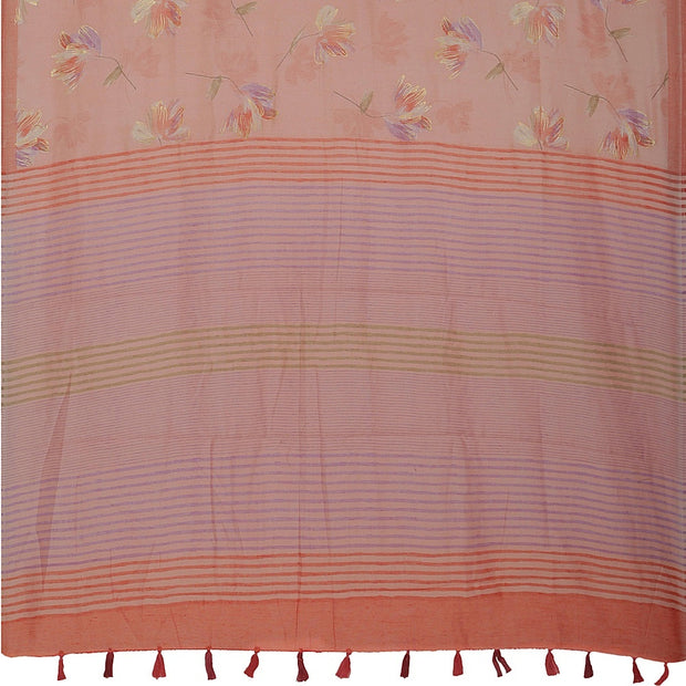 SIGNORAA ONION PINK DAILY WEAR TUSSAR SAREE-SASYN06459- Full View