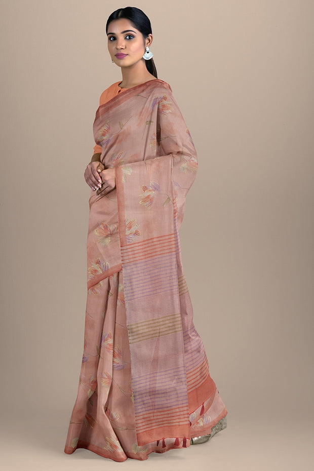 SIGNORAA ONION PINK DAILY WEAR TUSSAR SAREE-SASYN06459- Model View