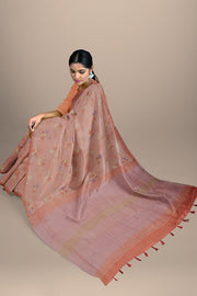 SIGNORAA ONION PINK DAILY WEAR TUSSAR SAREE-SASYN06459- Model View 2