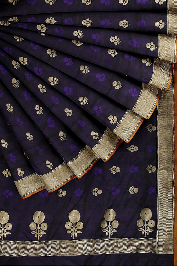 SIGNORAA NAVY BLUE BANARASI SATIN SAREE-BSK08046- Cover View