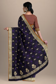 SIGNORAA NAVY BLUE BANARASI SATIN SAREE-BSK08046-Model View