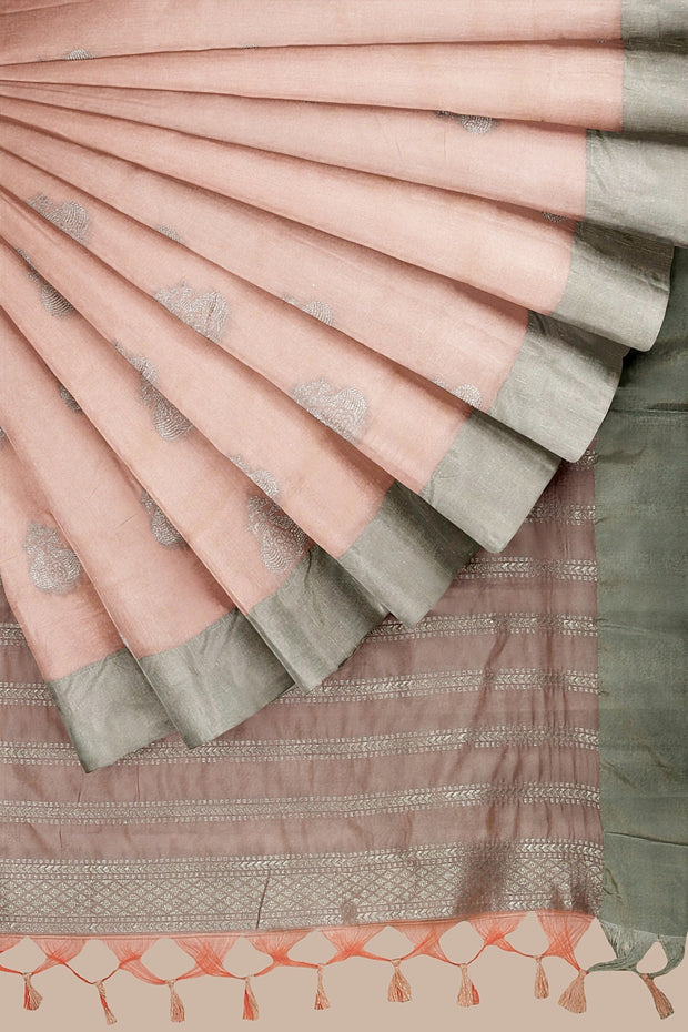 SIGNORAA LIGHT PINK DAILY WEAR TUSSAR SAREE-BLN00096A- Cover View