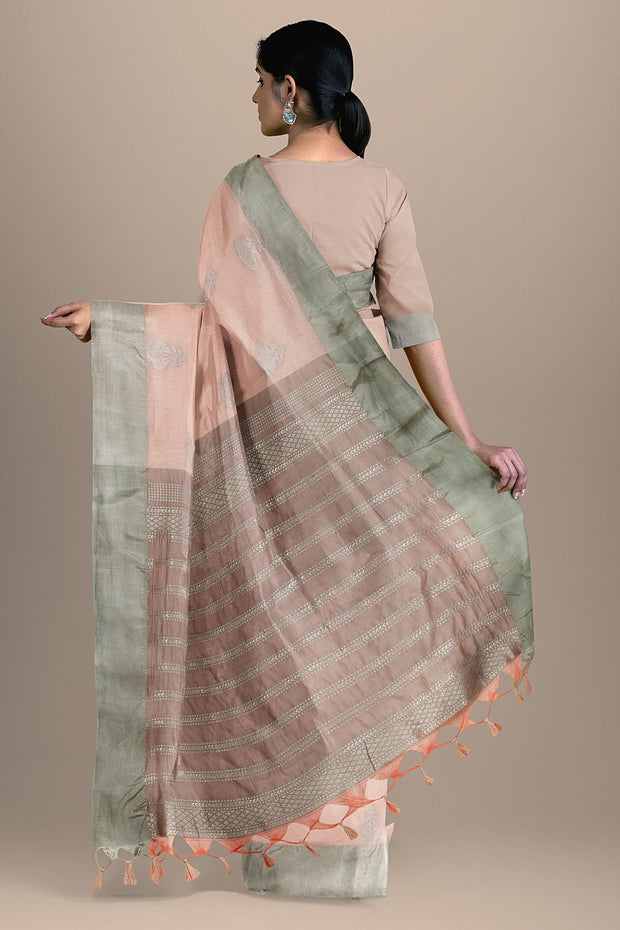 SIGNORAA LIGHT PINK DAILY WEAR TUSSAR SAREE-BLN00096A- Model View 2