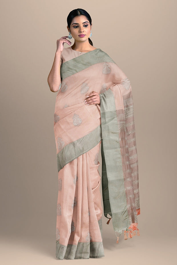 SIGNORAA LIGHT PINK DAILY WEAR TUSSAR SAREE-BLN00096A- Model View 1