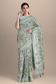 SIGNORAA BLUE DAILY WEAR TUSSAR SAREE-SASYN06457- Model View