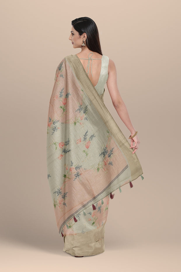 SIGNORAA PINK AND GREY DAILYWEAR TUSSAR SAREE-SASYN06456- Model View 2