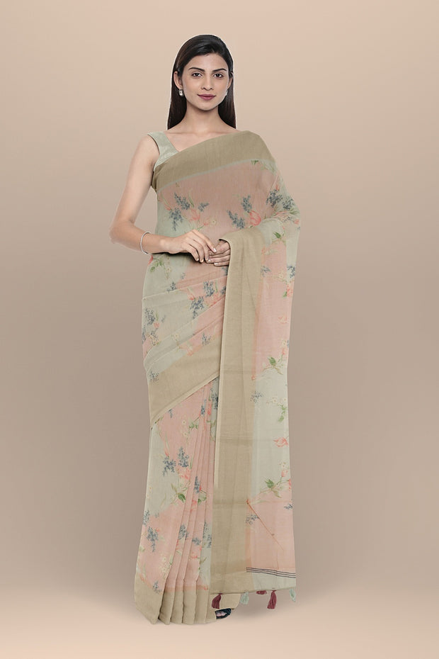 SIGNORAA PINK AND GREY DAILYWEAR TUSSAR SAREE-SASYN06456- Model View