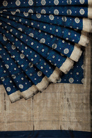 SIGNORAA DARK BLUE BANARASI SILK SAREE-BSK07826- Cover View