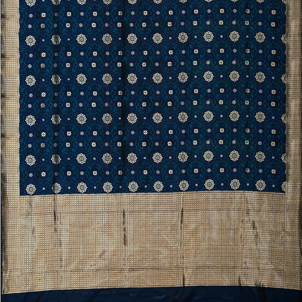 SIGNORAA DARK BLUE BANARASI SILK SAREE-BSK07826- Full View