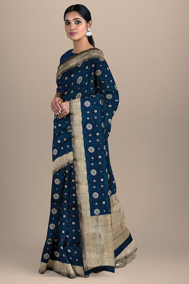 SIGNORAA DARK BLUE BANARASI SILK SAREE-BSK07826- Model View