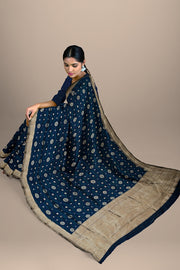 SIGNORAA DARK BLUE BANARASI SILK SAREE-BSK07826- Model View 2