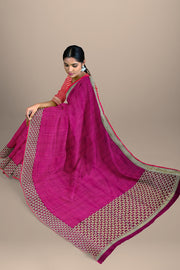 SIGNORAA MAGENTA BANARASI SILK SAREE-BSK08565- Model View 2