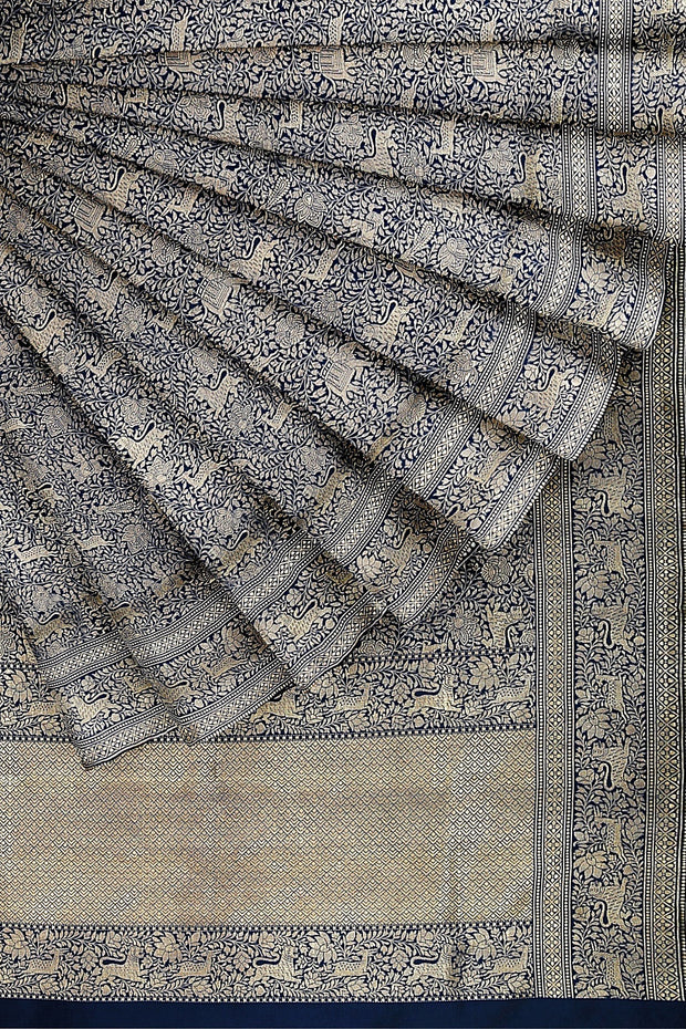SIGNORAA NAVY BLUE BANARASI SILK SAREE-BSK07132- Cover View