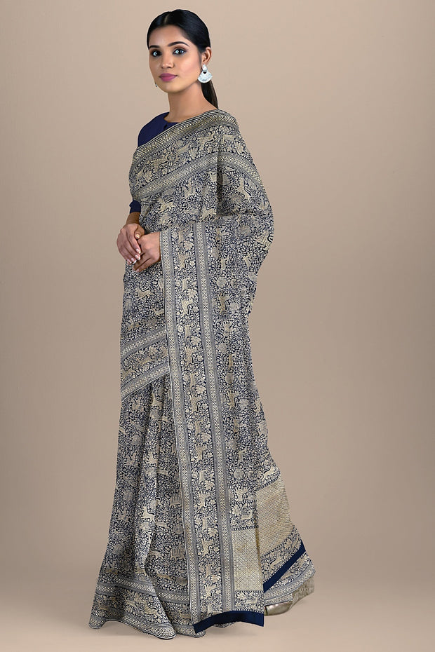 SIGNORAA NAVY BLUE BANARASI SILK SAREE-BSK07132- Model View