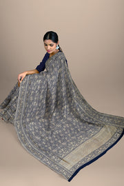 SIGNORAA NAVY BLUE BANARASI SILK SAREE-BSK07132- Model View 2