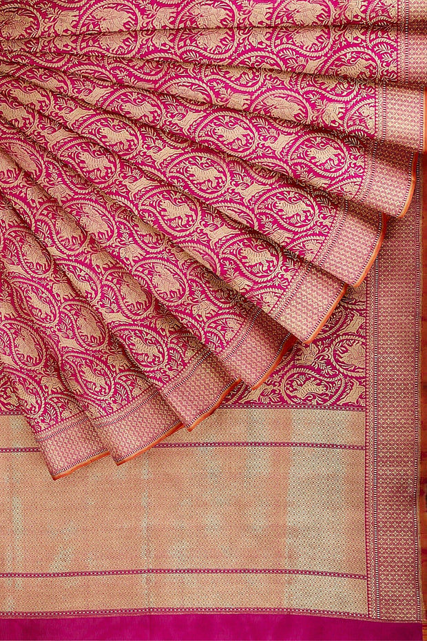 SIGNORAA PINK BANARASI SILK SAREE-BSK07133- Cover View