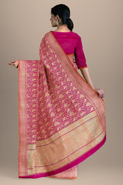 SIGNORAA PINK BANARASI SILK SAREE-BSK07133- Model View 2