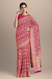 SIGNORAA PINK BANARASI SILK SAREE-BSK07133- Model View