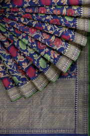 SIGNORAA ROYAL BLUE BANARASI SILK SAREE-BSK07803- Cover View