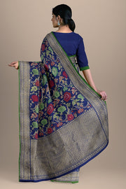 SIGNORAA ROYAL BLUE BANARASI SILK SAREE-BSK07803- Model View 2