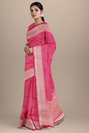 SIGNORAA SHOT RANI PINK BANARASI SILK SAREE-BSK08557- Model View