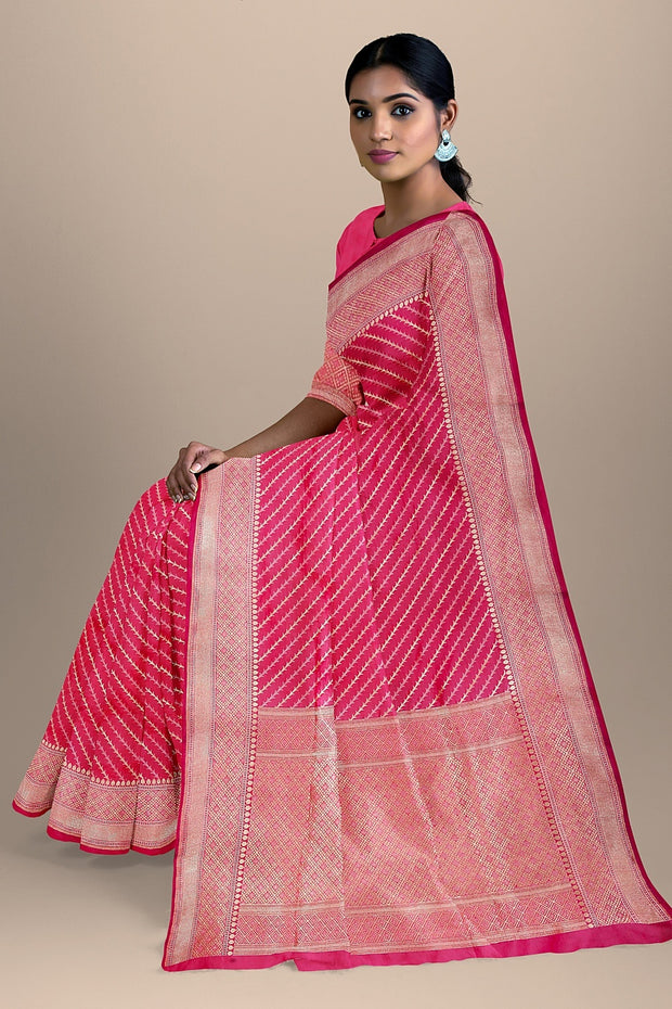 SIGNORAA SHOT RANI PINK BANARASI SILK SAREE-BSK08557- Model View 2