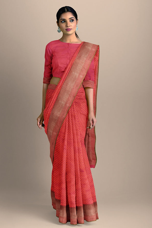 SIGNORAA SHOT RANI PINK BANARASI SILK SAREE-BSK08077- Model View