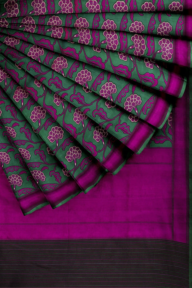 SIGNORAA GREEN BANARASI SILK SAREE-BSK03842- Cover View