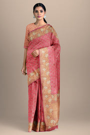 SIGNORAA PINK BANARASI SILK SAREE-BSK08967- Model View