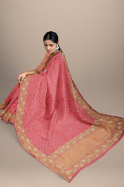 SIGNORAA PINK BANARASI SILK SAREE-BSK08967- Model View 2