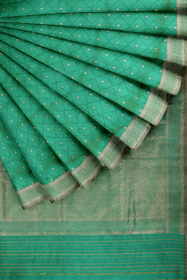 SIGNORAA SEA BLUE BANARASI SILK SAREE-BSK09028- Cover View