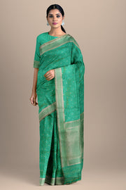 SIGNORAA SEA BLUE BANARASI SILK SAREE-BSK09028- Model View